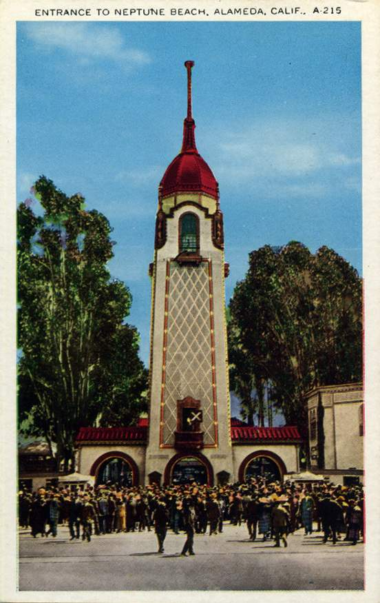 A postcard view of the entrance tower at Neptune Beach was arabesque in style.