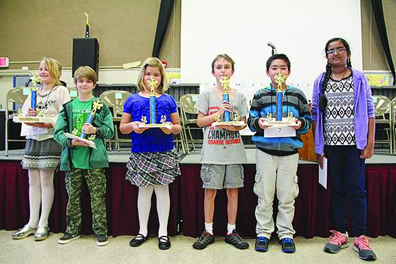 Left to right, Alameda's best spellers: Hazel Purins, first place, fifth grade, Otis Elementary; Dylan McGrew, fifth place, sixth grade, Academy of Alameda; Ella Banchieri, fourth place, fourth grade, Edison Elementary; Liam Hofmann, third place, fifth grade, Earhart Elementary; Brenden Dalipe, second place, fifth grade, Bay Farm Elementary and alternate Lavanya Kumar, sixth grade, Wood Middle.