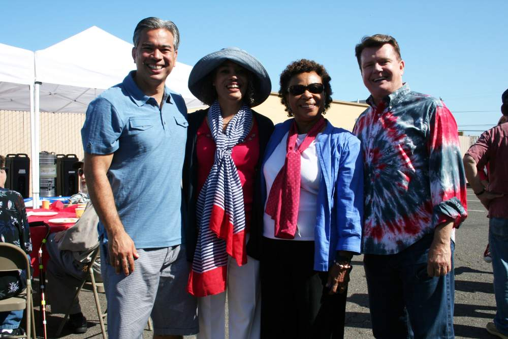 Photo by Mike Lano - Assemblyman Rob Bonta, Mayor Marie Gilmore, Congresswoman Barbara Lee and Parade Grand Marshal, Newscaster Michael Finney