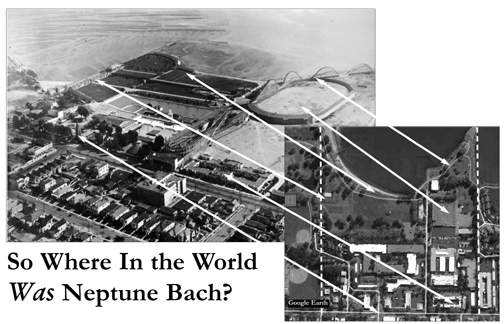 Graphic comparing Neptune Beach aerial with contemporary google map.