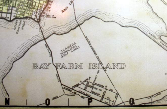 """Early maps of Bay Farm's development are featured in the """"History of Bay Farm."""""""