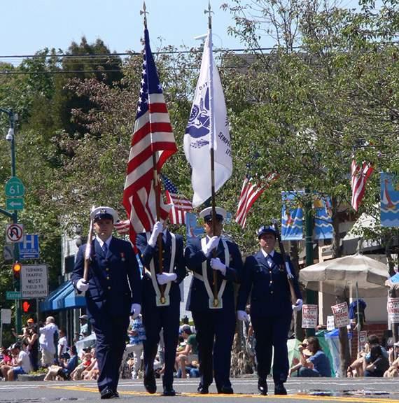 US Coast Guard Color Guard led off the parade