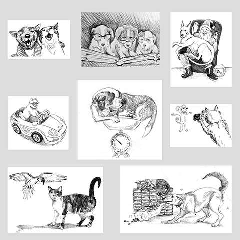 A series of hand-drawn illustrations by Eric J. Kos for Friends of the Alameda Animal Shelter. Eric can be commissioned to produce original illustrations.