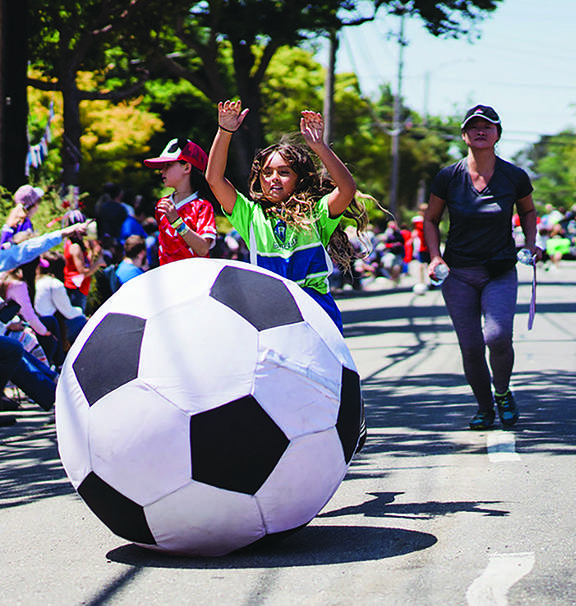 Giant soccer balls were a theme this year.