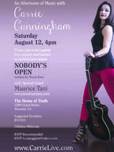 Courtesy photo &nbsp&nbsp&nbsp Carrie Cunningham performs this Saturday, Aug. 12, 4 to 6 p.m. at the Home of Truth.