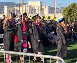 Courtesy AUSD &nbsp&nbsp Members of Alameda High School's Class of 2019 prepare to walk to the podium and receive their diplomas at Thompson Field June 7.