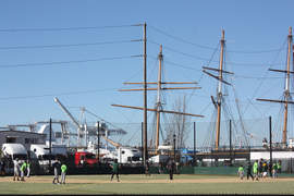 Dennis Evanosky &nbsp&nbsp The Estuary Park baseball diamond got some immediate use after the official ribbon cutting last Saturday. The park is set against the estuary's maritime industry where the tall-masted ship Balclutha is undergoing restoration at Bay Ship & Yacht.