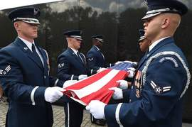 Courtesyjba.af.mil &nbsp&nbsp Above, members of the U.S. Air Force Honor Guard perform a flag-folding ceremony at the Vietnam War Memorial in Washington D.C. A workshop for the public to learn to properly fold the U.S. flag will take place as part of the USS Hornet Museum's Veterans Day Open House set for Friday, Nov. 10, at 10 a.m.