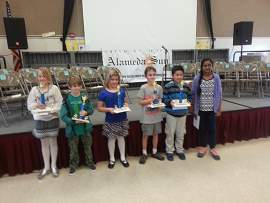 The first city-wide student spelling bee in a long time took place in February with 60 kids competing. Five students gained passage to the county spelling bee; Otis School's Hazel Purins won the honor of Alameda's top speller.