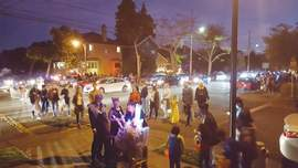 "Eric J. Kos &nbsp&nbsp Grand Street at San Jose Avenue turns into ""Halloween Central"" on the night of Oct. 31."
