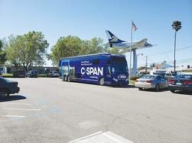 The bus visited Alameda during its ongoing tour of America's schools.
