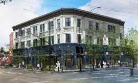 City of Alameda  If the plan is approved this mixed-use building would occupy the southwest intersection of Webster Street and Pacific Avenue.