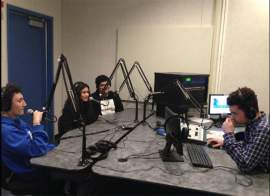 Felicia Vargas  Students in the studio at Encinal High School prepare for the first day of broadcasting the school's brand-new radio station.