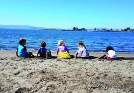Neptune Nature School students enjoy the view at Crown Beach.