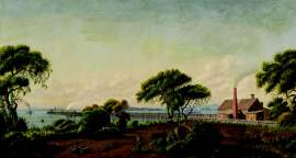This painting, the companion to the one on page 1 shows the A. A. Cohen's railyard on the fringes of the Town of Woodstock that merged with the towns of Encinal and Alameda to become the City of Alameda.