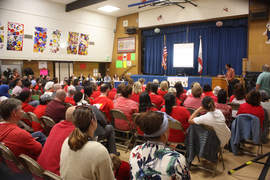 File photos &nbsp&nbsp Among the more painful moments of 2017 was the closure of Lum Elementary School. In late April, parents met at nearby Wood Middle School to discuss Lum's future (above). Engineers found soil beneath the school could subside risking lives. The school, like Wood, was built on made land reclaimed in the 1950s.