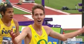 NCAA &nbsp&nbsp Teare's reaction to learning his time. His time was one second faster than Olympic qualifying standards.