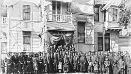 Iwaihara family collection &nbsp&nbsp The congregation of the Buddhist Temple of Alameda, pictured on page 1. Built as the home of William T. S. Ryer and his wife, Mary Jane in 1886, a room in the home was first rented as a place of worship by the Japanese community, then purchased in 1919.