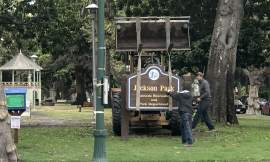 In late July, workers removed a city park sign whose namesake is now associated with hate and violence. The park in the center of Park Avenue is currently undergoing a renaming process.