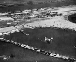 """Clyde Sunderland &nbsp&nbsp China Clipper awaits departure in Pan Am Lagoon just off the shores of Alameda Airport on Nov. 22, 1935. This area now lies buried beneath the runways at the Naval Air Station near the """"Northwest Territories."""""""
