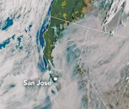National Aeronautics & Space Administration &nbsp&nbsp This GOES 17 Weather Satellite photograph shows smoke covering the Bay Area from the fires around Vallejo and Fairfield (top right) and from fires in Santa Cruz County, bottom left. The East Bay Hills have captured a finger-like portion of smoke that continues to linger over Berkeley, Oakland and Alameda.