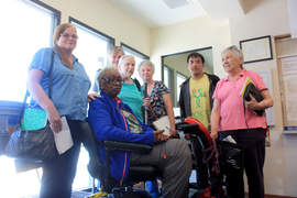 Dennis Evanosky &nbsp&nbsp Catherin Pauling (left) joined wheel-chair-bound Barbara Johnson and her friends at the Alameda Housing Authority office.