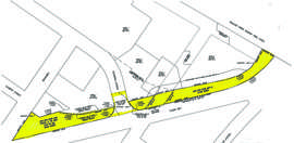 This map shows the former railroad right of way that would become city property if all goes according to plan. The long-vacant parcel belongs to the Union Pacific Railroad.