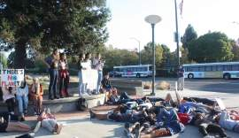 Dennis Evanosky &nbsp&nbsp Students at College of Alameda hosted a die in at Atlantic Avenue and Webster Street to draw attention to the crisis last Friday as well.