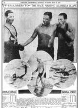 """Oakland Tribune &nbsp&nbsp Byron Summers, left, is congratulated by his brother Jack Summers, center, and his trainer, Constantine Raptlelis, right, after finishing first in the 14-mile race around Alameda on Memorial Day, 1927. """"Alameda is acclaiming Byron Summers the Flying Fish of the Island City,"""" the Oakland Tribune reported on May 31, 1927. Summers beat all comers and was only three of 30 swimmers to complete what the Tribune called """"the long grind."""""""