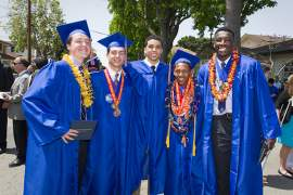 Saint Joseph Notre Dame High School Photo -  Saint Joseph Notre Dame High School graduates (from left to right) Brian Musante, Quentin Caruso, Rafie Herbert, Elijah Fisher and Temidayo Yussuf celebrated their big day together. They were part of the school's 132nd commencement exercises on May 31.