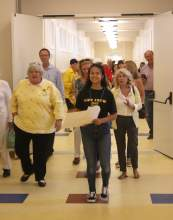 File Photo &nbsp&nbsp Bella Puchkova, Alameda High School, (AHS) Class of '20, led community members on a tour around the newly refurbished AHS which reopened in mid-August.