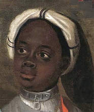 The painting's lower right corner depicts a young African male wearing a slave collar quietly waiting to do their bidding. Yale commissioned an unknown artist to do this painting in 1704.