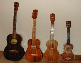 Courtesy photo  Much like the violin, saxophone and mandolin families, ukuleles come in multiple sizes and tones. Pictured, left to right, are baritone, tenor, concert and soprano ukuleles. Join in a ukelele jam and sing-a-long event today at the Mastick Senior Center.