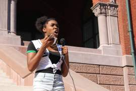 Rafael Arredondo &nbsp&nbsp Among the many inspiring speakers at Alameda's protest June 3, was Alameda High School student Raquel Williams..