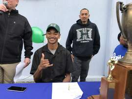 Maryam Nasirova &nbsp&nbsp Encinal athlete Akil Francisco signed his letter of intent to play football at the University of Hawaii on Feb. 1.