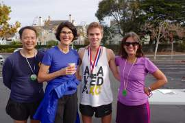 Ed Jay photograph. Left to right, Councilman Tony Daysong, Councilwoman Marilyn Ezzy Ashcraft, Bret Greene and Mayor Trish Spencer - all participants in the Midway Shelter Run/Walk.