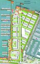 City of Alameda North Waterfront Cove presented this plan for the property that once housed Encinal Terminals, depicted as (A) on the Google map on page 1. At issue is how the developer defines and plans to handle land, some submerged, that the state of Californa defines as tidelands.