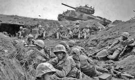 """Courtesy warontherocks.com  A scene from the 1945 Battle of Okinawa. Mark Stout of warontherocks.com says the carnage of the battle illustrates """"the obscenity of war."""""""