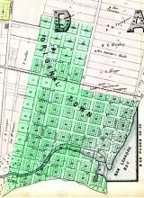 In 1852, Gideon Aughinbaugh and William Worthington Chipman created the Town of Alameda. A close look will reveal many street names still in use today.Some modern street names not on the map recall landowners noted there. These include George Gregg Briggs, who invested some of the gold he discovered during the Gold Rush in Alameda property and fruit trees and Robert R.Thompson who supplied Alameda with water for a time. Thompson lived in today's Lincoln Park.
