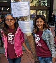 "Courtesy photos &nbsp&nbsp Kaia Marbin, right, and Lily Ellis helped draw national attention to the plight of children in detention centers with their ""Butterfly Effect"" project."