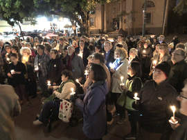 "City of Alameda &nbsp&nbsp Members of ""Stand with Pittsburgh against Hate"" gathered at City Hall Tuesday, Oct. 30, to mourn the murders of 11 people at the Tree of Life Congregation in Pittsburgh, Pa. The vigil coincided with other similar events around the country. The shooting, which transpired during a peaceful religious service, is being described as one of the deadliest against the Jewish community in U.S. history."