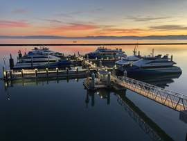 Water Emergency Transportation Authority &nbsp&nbsp Ferries docked at the newly opened Ron Cowan Central Bay Maintenance and Operations Facility at Alameda Point, which opened for service last Thursday.