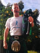 Andy MacKay photo. Andy MacKay will make the rounds tonight with his bagpipes to raise money to fight cancer.