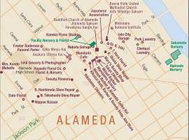 California Civil Liberties Public Education Project (CCLPEP) &nbsp&nbsp This map by the Ben Pease of the Japantown Atlas Project shows the Japanese presence in Alameda in 1940. Japanese businesses included florists, grocers, photographers, shoe repair shops and a midwife.