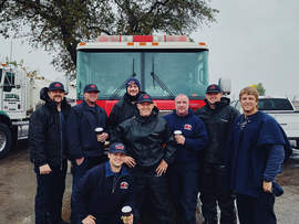 Alameda Fire Department &nbsp&nbsp AFD recently welcomed home their colleagues who had been on the front lines fighting both the Camp Fire in Northern California's Butte County and the Woolsey Fire in Ventura County in Southern California. Kneeling is Firefighter Sam Hales. Standing, left to right, are Firefighter and Acting Captain Ty Zollner; Captain Brandon Baley; Firefighter Dallas Andrews, Apparatus Operators Brad Eckelhoff and Jason Edwards; Firefighter Will Dyer; and Firefighter Juan Medrano.