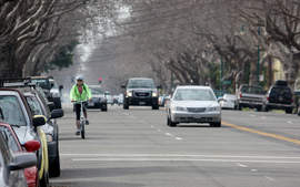 Dennis Evanosky  A cyclist on Central Avenue shares a lane with traffic in the street's current configuration. Changes to Central may be approved at the Feb. 24 city council meeting.