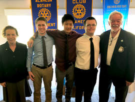 Courtesy photo &nbsp&nbsp Rotarians Karen Kenney, far left, and Harry Reppert, far right, flank the 2018 youth speech contestants, Joseph Picchi, Quinton Owyang and Daire Donahoe.