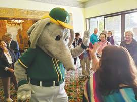 Eric J. Kos &nbsp&nbsp Stomper was definitely the life of the party at the A's open house May 1.