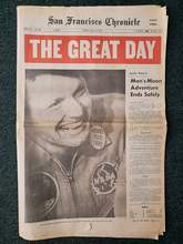 """From the Alameda Sun collection &nbsp&nbsp A copy of the San Francisco Chronicle from exactly 50 years ago today. The caption under the photo reads: """"Neil Armstrong, first man to walk on the moon, aboard the aircraft carrier Hornet, July 24, 1969."""" Note the button on Armstrong's lapel celebrating that the three Apollo 11 astronauts had come aboard safely"""