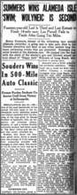 Courtesy Craig Coombs &nbsp&nbsp The May 31, 1927, edition of the Oakland Tribune carried this headline about the swim race that took place on the opening day of the Neptune Beach amusement park in Alameda.